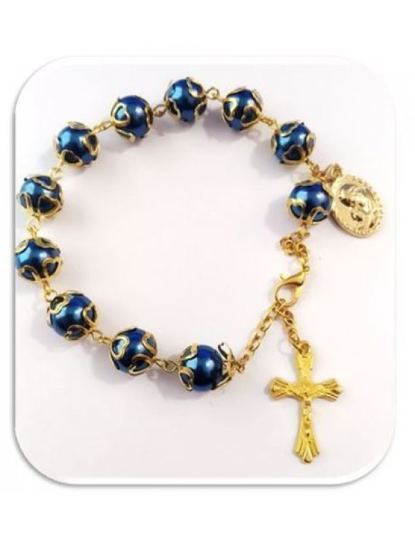 8mm Royal blue Rosary Bracelet/Car rosary in Gold
