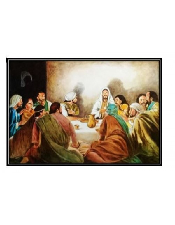 98 x 67cm  - Last Supper - Oil on board - plain 4cm frame