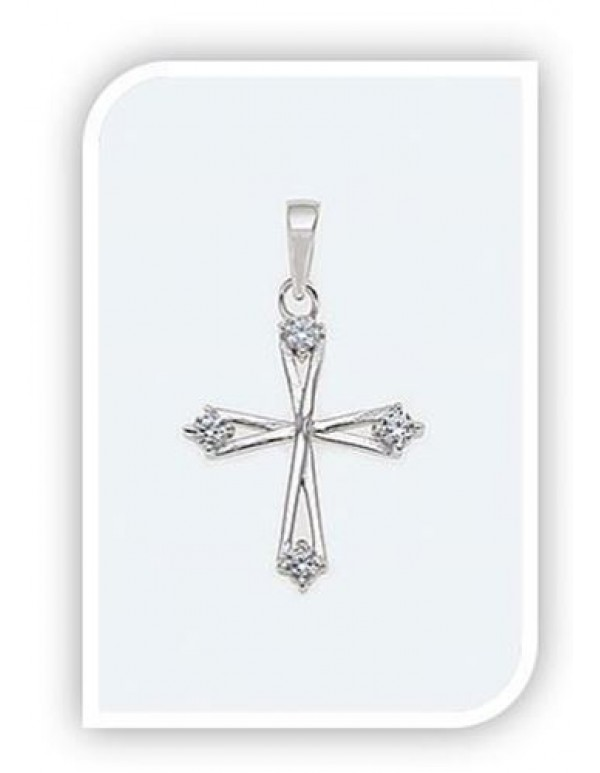 17mm Sterling silver Cross with Swarovski Crystals on ends