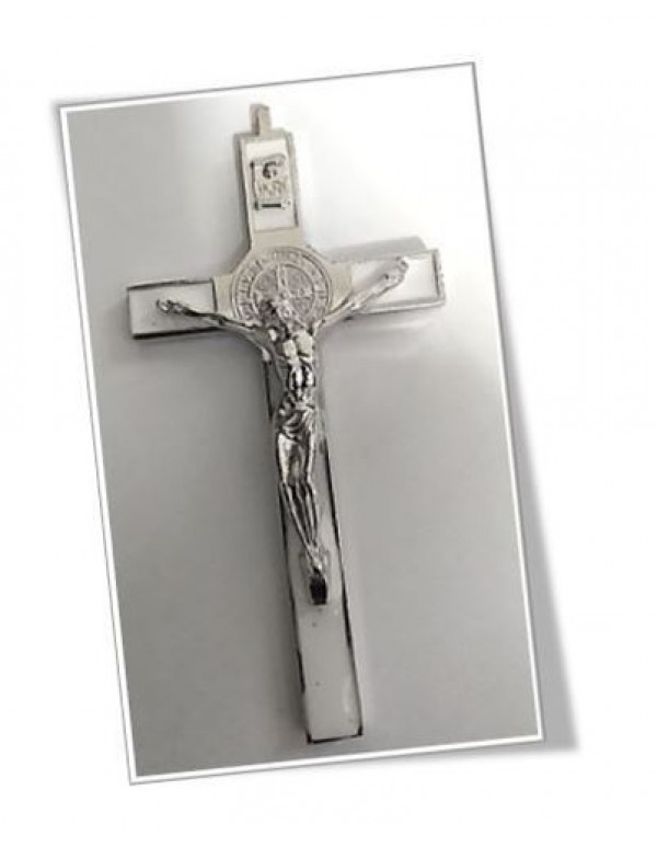 10.5cm St Benedict Crucifix - White Inlay
