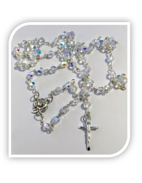 6mm Swarovski Crystal AB Rosary in Sterling Silver