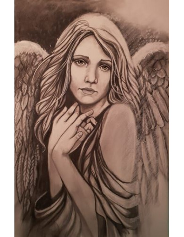 1.3m x 80cm - Angel In Charcoal