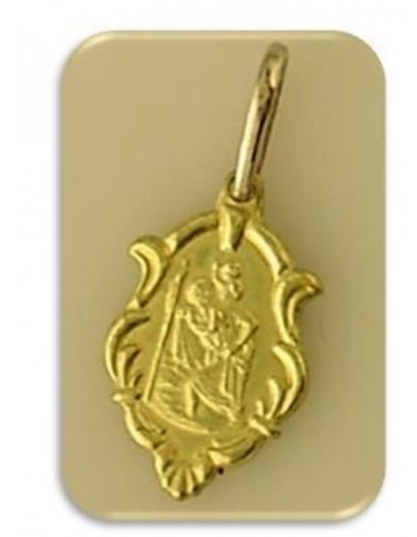 10mm 18kt Gold filled St Christopher Pendant