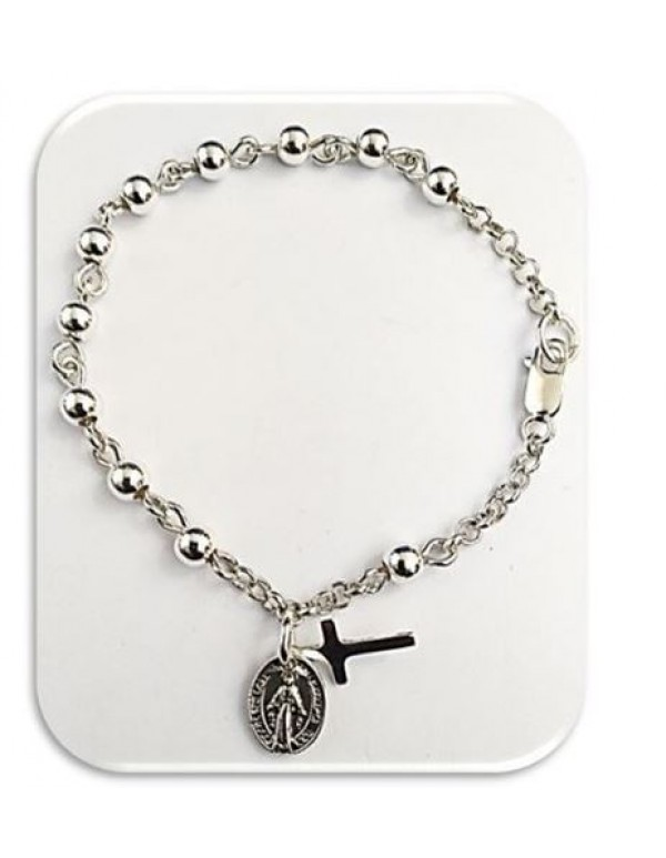 Sterling Silver One Decade Rosary Bracelet with Miraculous Medal and Cross