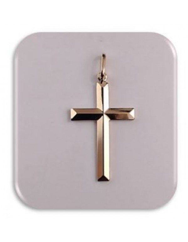 28mm Beveled Edge Cross -  18kt Gold Filled