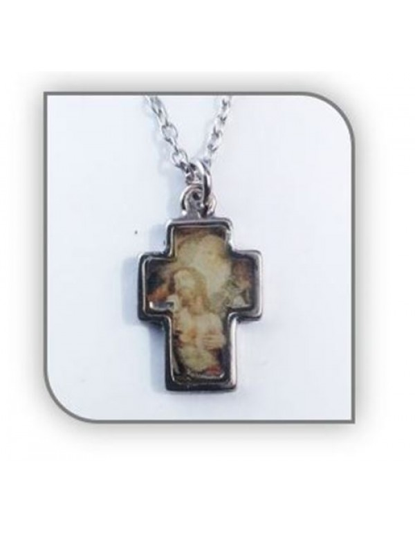 2.5cm Father, Son & Holy spirit Picture, Metal Cross with 50cm chain