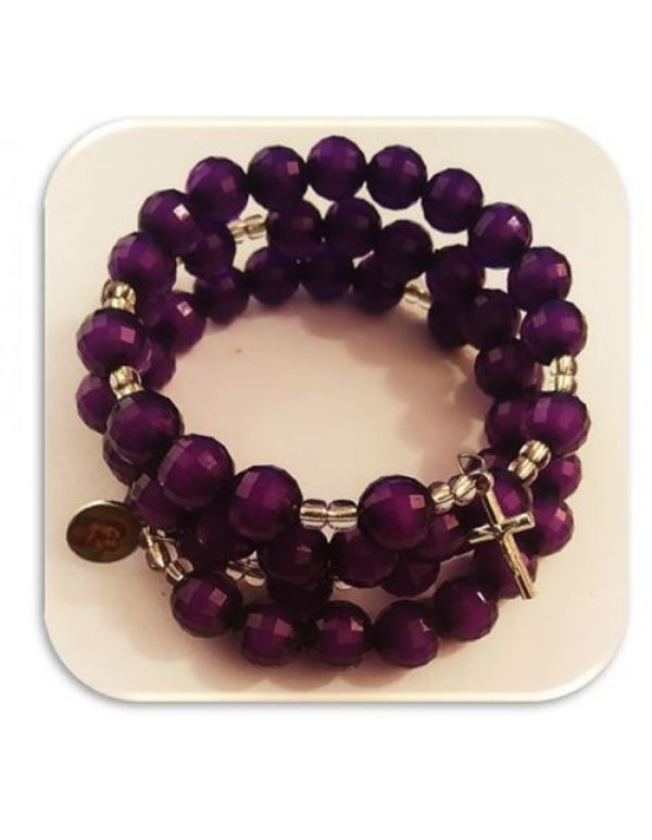 6mm Purple window 5 decade bracelet Rosary