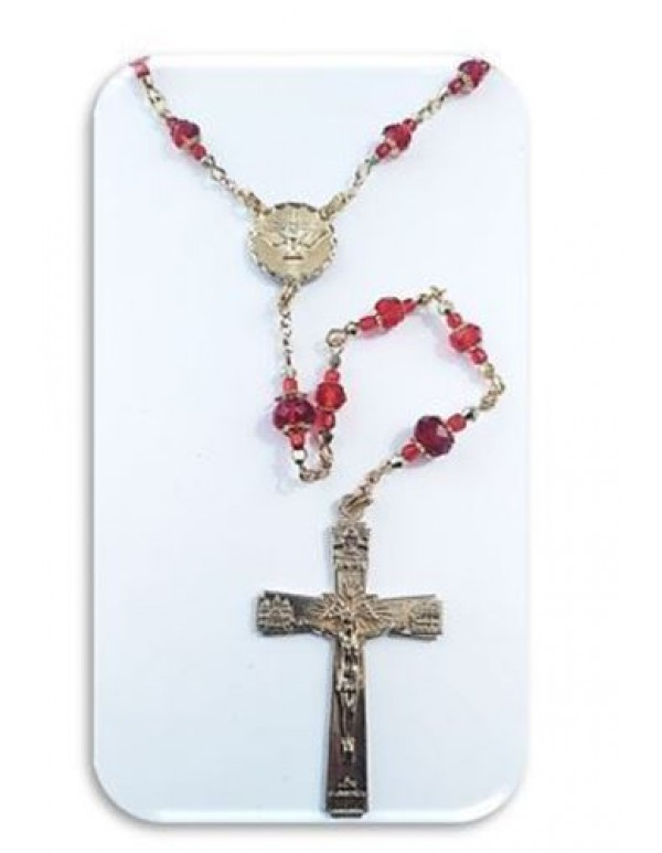 Red Holy Spirit Austrian Crystal Rosary in gold - Limited Edition