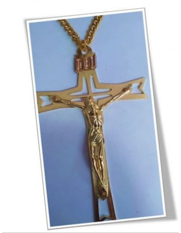 15.5cm golden Crucifix with 80cm chain