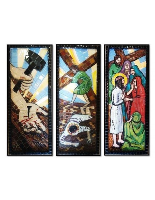 Mosaic Stations of the Cross - 48 x 19 x 5cm - set of 14
