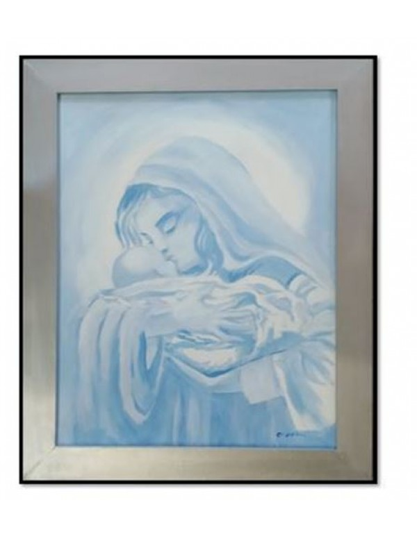 Madonna & child in blues 50 x 41cm framed