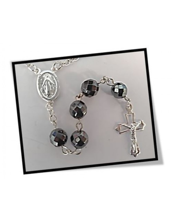Hematite Faceted Semi Precious  Sterling Silver Rosary - 8mm bead