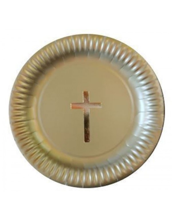 Gold Paper Plate with Gold Foil Cross - 23.5cm diameter (pkt 5)