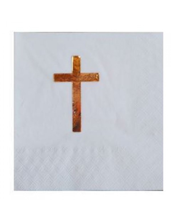 2 ply White serviette with Gold Foil Cross (5 pkt)