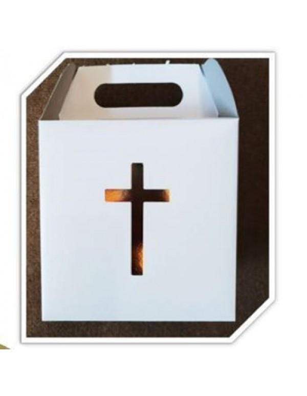 White party box with Gold Foil Cross (5 pkt)
