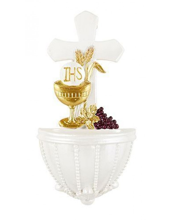 Cross, Chalice & Grapes Holy Water Font