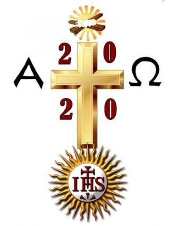 2020 - Gold Paschal Candle - 100 x 800mm
