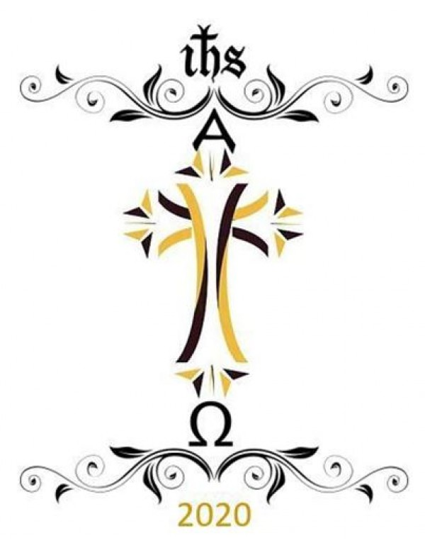 2020 - Black and Gold Paschal Easter Candle - 70mm x 600mm