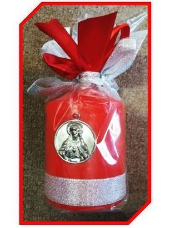 7cm x 10cm - Red Sacred Heart Candle