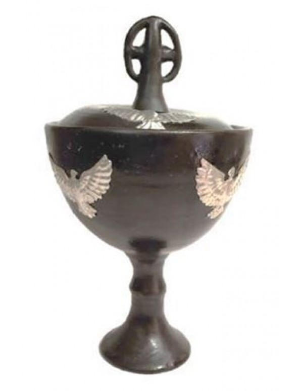 Ceramic Ciborium with Pewter Dove design -  22cm tall