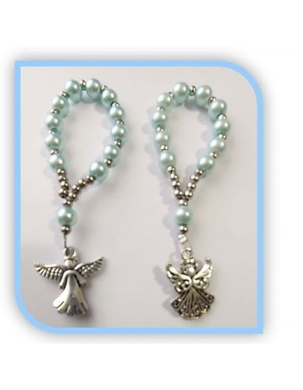 One Decade Blue Faux Glass Pearl Rosary with Angel