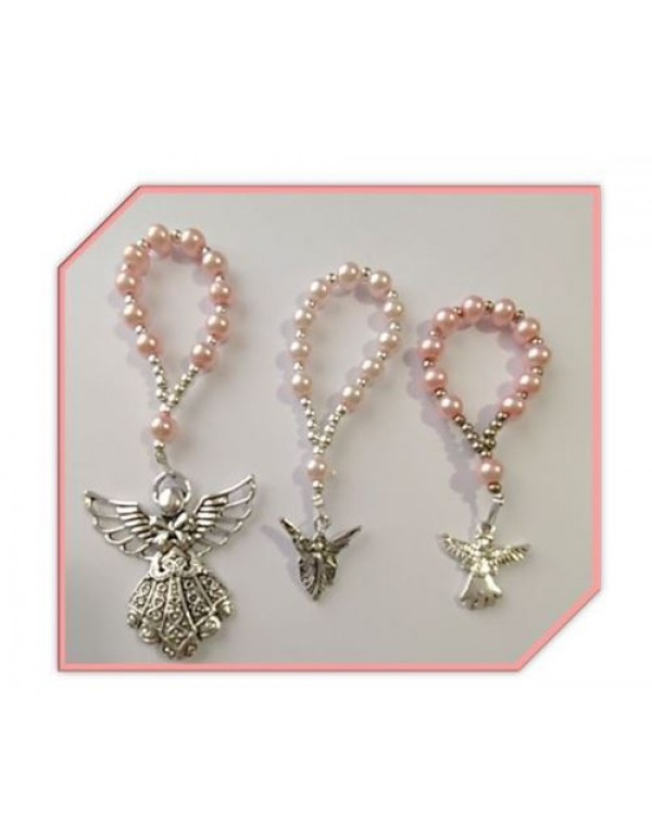 One Decade Pink Faux Glass Pearl Rosary with Angel