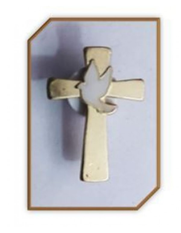 27mm Gold Cross Lapel Pin with White enamel dove