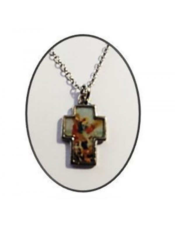 2.5cm  St Michael the Archangel  Metal Cross with 50cm chain